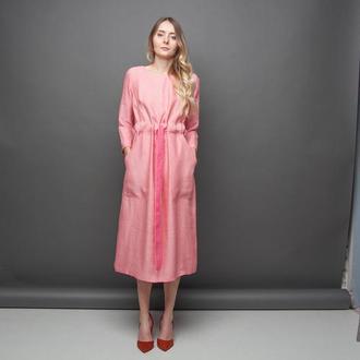 Платье женское коралового цвета