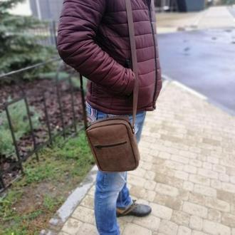Мужская кожаная сумка из натуральной кожи+КЛЮЧНИЦА В ПОДАРОК!!!