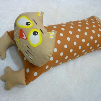 ПОДУШКА - игрушка. Валик. Подголовник. Котик , 53 см.