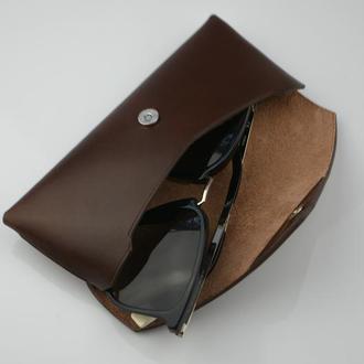Мужской кожаный очечник, подарок папе, подарок другу, футляр для очков, именной футляр для очков