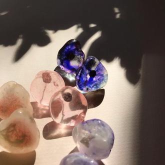 Прозрачные пуссеты цвета аметист, фиолетовые пуссеты, сиреневый камень, серебряные пуссеты