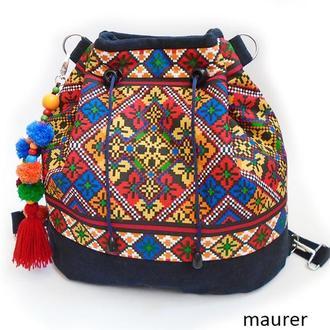 Сумка-рюкзак с этно орнаментом.