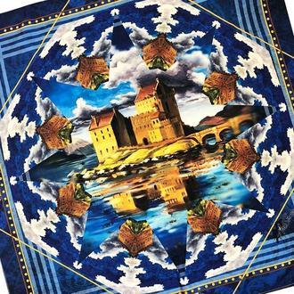 Дизайнерский шелковый платок  замки Эдинбурга