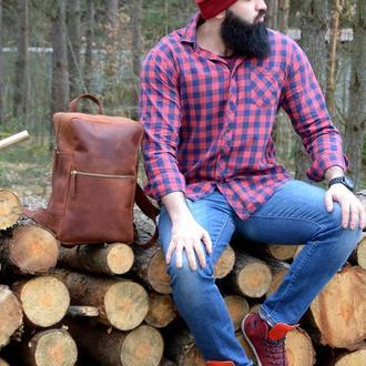 Кожаный мужской/женский туристический рюкзак