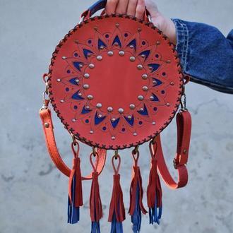 Круглая кожаная сумка