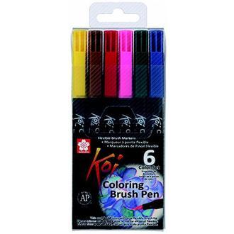 Набор акварельных маркеров Sakura KOI Coloring Brush Pen 6 цветов