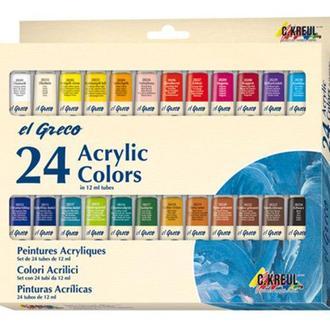 Набор акриловых глянцевых красок C.Kreul El Greco 24 цвета по 12 мл