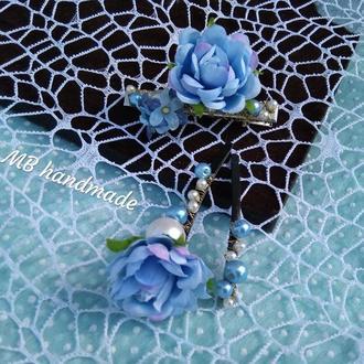 Набор заколок с жемчугом и цветами