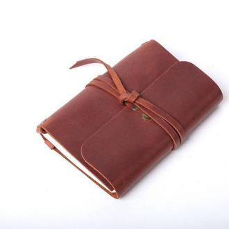 Кожаный блокнот А6 «Nota6 Cognac» (коричневый, с гравировкой, для рисования, мужской, женский)