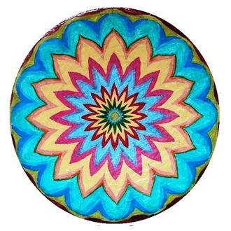 """Декоративная тарелка диаметром 42 см """"Трипольское знамение"""" из шамотной трипольской глины"""