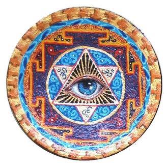 """Декоративная тарелка диаметром  42 см  """"Небесный бисер""""  шамотной трипольской глины"""