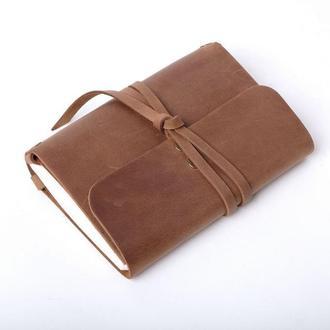 Кожаный блокнот А6 «Nota6 Olive» (коричневый, с гравировкой, для рисования, мужской, женский)