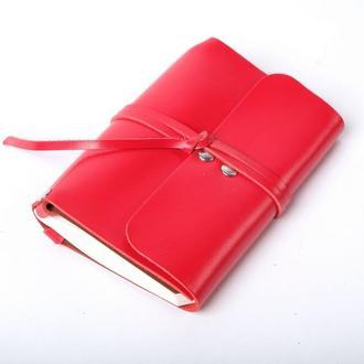 Кожаный блокнот А6 «Nota6 Red» (красный, с гравировкой, для рисования, женский)