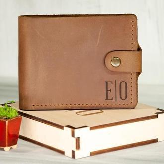 Кожаное портмоне с гравировкой, отделение для прав или ID паспорта