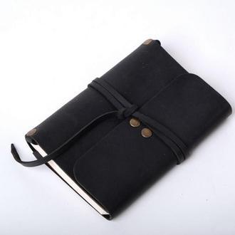 Кожаный блокнот А6 «Nota6 Black» (черный, с гравировкой, для рисования, мужской, женский)