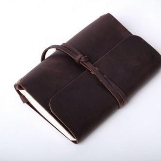 Кожаный блокнот А6 «Nota6 Brown» (коричневый, с гравировкой, для рисования, мужской, женский)