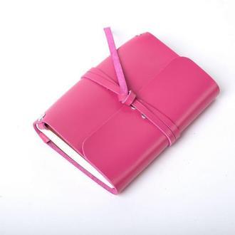 Кожаный блокнот А6 «Nota6 Fuchsia» (розовый, с гравировкой, для рисования, женский)
