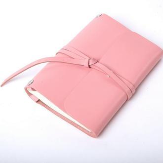 Кожаный блокнот А6 «Nota6 Powder» (розовый, с гравировкой, для рисования,  женский)