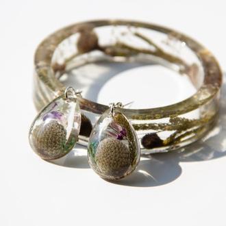 Комплект украшений из смолы с цветами (серьги и браслет)