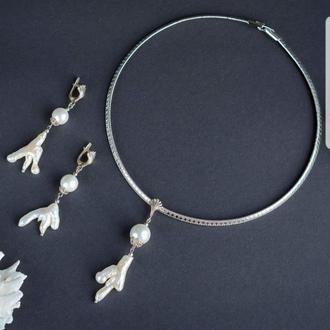 """Дизайнерский комплект из натурального жемчуга барокко и майорики в серебре """"Sea Pearl""""🐚💧"""
