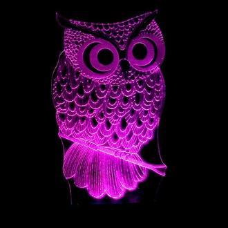 Сова 2, ночник лампа светильник, подарок ребенку, коллеге, женщине, детский ночник