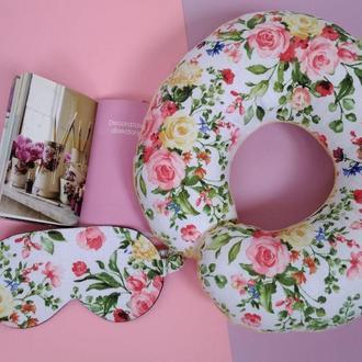 Дорожная подушка - цветы Киев, подушка для путешествий - цветы, подушка для шеи -цветы, подушка Киев