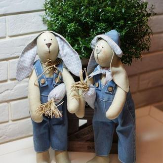 Интерьерные куклы тильды зайцы Дачники Степа и Вася, подарок