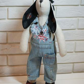 Заяц тильда Джонни Байкер, интерьерная игрушка, подарок мужчине, байкеру