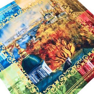 Дизайнерский шелковый платок Киевские мотивы. Четыре сезона