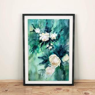 Картина акварелью, белые розы