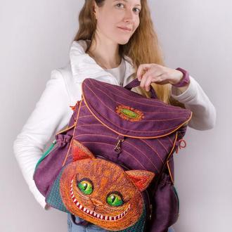 Рюкзак с вышивкой Чеширский кот Фиолетовый рюкзак Оранжевый кот Большой городской женский рюкзак Кот