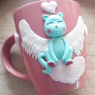 Чашка с декором милый котик из полимерной глины.