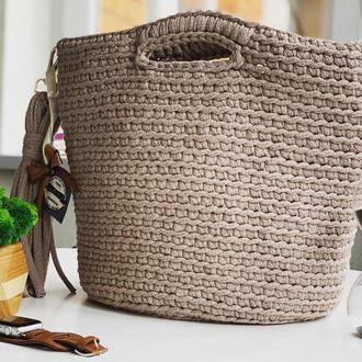Двухсторонняя сумка шоппер из трикотажной пряжи