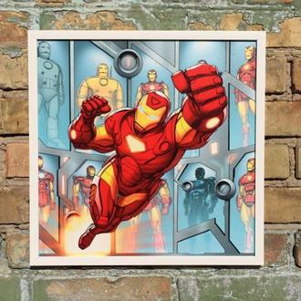 """Постер на ПВХ 3 мм. в рамке """"Железный Человек"""" (Iron Man Retro Art)"""