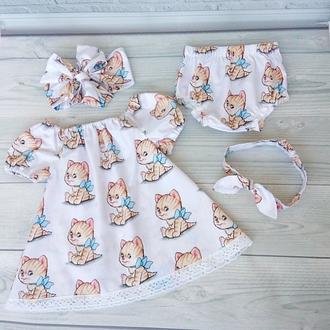 """Летний комплект одежды """" Котята""""для девочки"""