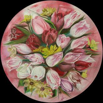 """Картина маслом - """"Тюльпаны"""". Диаметр - 60см.Современная живопись."""