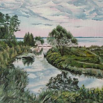 """Картина маслом-37*32см.""""Вечер у реки"""".Современная живопись.Пейзаж."""