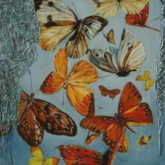 "Картина маслом-""Фантазия""(Бабочки)-65*110см.Современная живопись..АРТживопись"