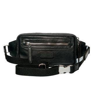 Сумка поясна шкіряна чорна | Belt bag black FRANKO