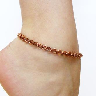 Медный браслет цепочка на ногу. Женские украшения на лето