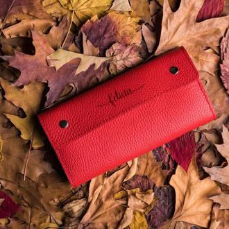 """Красный кожаный кошелек """"Келли"""""""