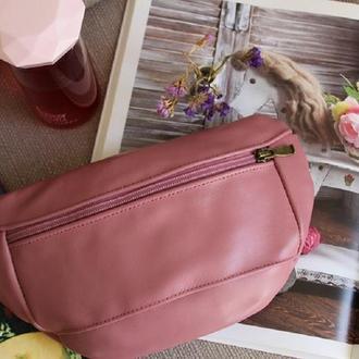 Поясная сумка 051 pink. Натуральная кожа.