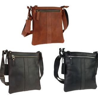 Кожаная мужская сумка с гравировкой «Light» 3 цвета, бесплатная доставка