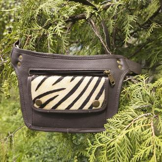 оригинальная кожаная сумка на пояс в стиле бохо