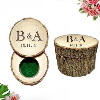 Персонализированная коробочка для колец. Деревянная коробочка для колец. Коробочка для помолвки