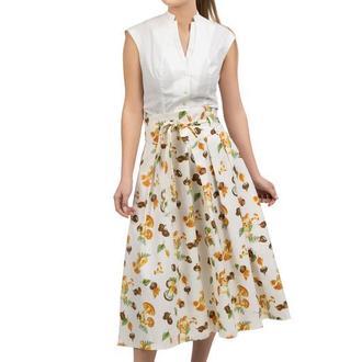 Белая юбка с растительным принтом