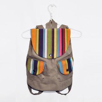 Рюкзак хлопковый Бежевый Геометрия Разноцветный
