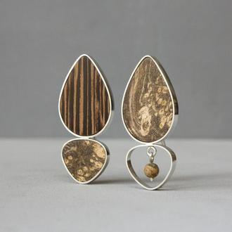 Асимметричные серебряные серьги с деревом и яшмой