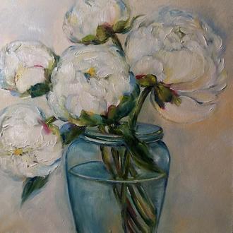 Картина маслом 20×20 см. живопись Пионы в пастельных тонах