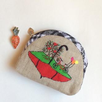 Косметичка «Зонтик и шарики» выполнена в технике - Японский пэчворк